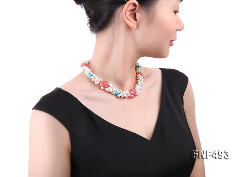 Three-strand 6-7mm White Freshwater Pearl Necklace Dotted with Pink Crystals and Turquoise Beads big Image 6