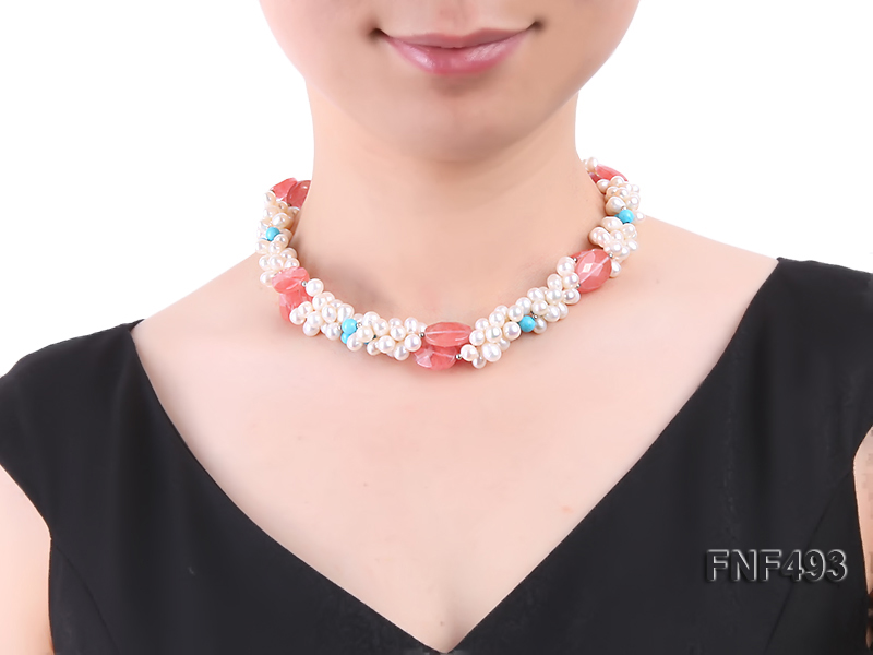 Three-strand 6-7mm White Freshwater Pearl Necklace Dotted with Pink Crystals and Turquoise Beads big Image 3