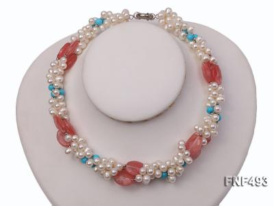 Three-strand 6-7mm White Freshwater Pearl Necklace Dotted with Pink Crystals and Turquoise Beads FNF493 Image 1