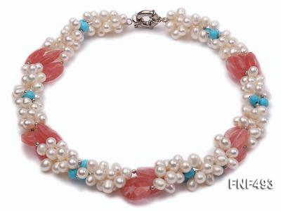 Three-strand 6-7mm White Freshwater Pearl Necklace Dotted with Pink Crystals and Turquoise Beads FNF493 Image 2