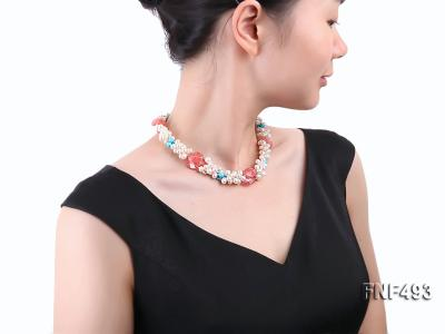 Three-strand 6-7mm White Freshwater Pearl Necklace Dotted with Pink Crystals and Turquoise Beads FNF493 Image 6