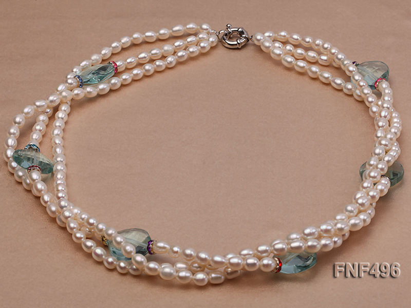 Three-strand 5-6mm White Freshwater Pearl Necklace with Blue Crystal Beads and Zircons big Image 1