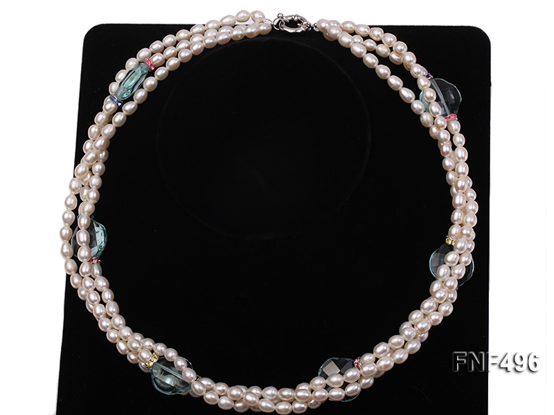 Three-strand 5-6mm White Freshwater Pearl Necklace with Blue Crystal Beads and Zircons big Image 3