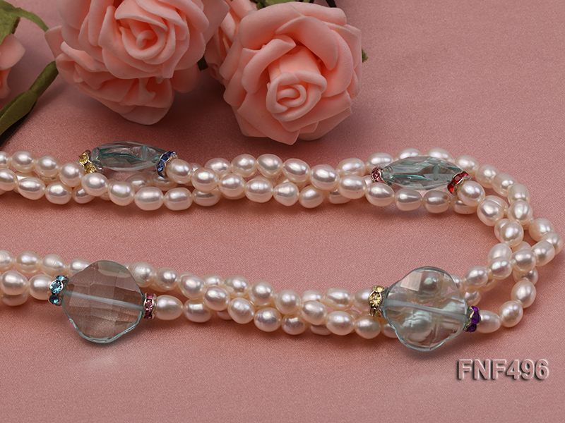 Three-strand 5-6mm White Freshwater Pearl Necklace with Blue Crystal Beads and Zircons big Image 4