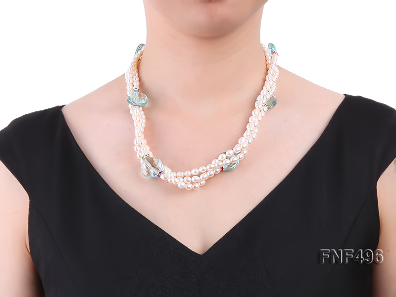 Three-strand 5-6mm White Freshwater Pearl Necklace with Blue Crystal Beads and Zircons big Image 5