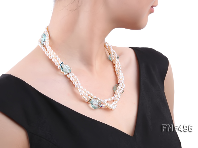 Three-strand 5-6mm White Freshwater Pearl Necklace with Blue Crystal Beads and Zircons big Image 6