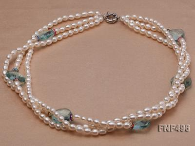 Three-strand 5-6mm White Freshwater Pearl Necklace with Blue Crystal Beads and Zircons FNF496 Image 1