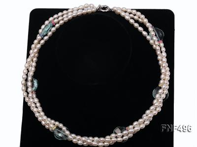 Three-strand 5-6mm White Freshwater Pearl Necklace with Blue Crystal Beads and Zircons FNF496 Image 3