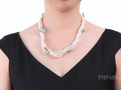 Three-strand 5-6mm White Freshwater Pearl Necklace with Blue Crystal Beads and Zircons FNF496 Image 5