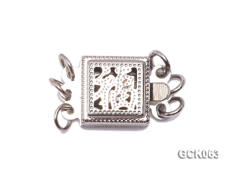 8.5mm Three-strand Square White Gilded Clasp  big Image 1