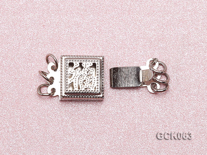8.5mm Three-strand Square White Gilded Clasp  big Image 3
