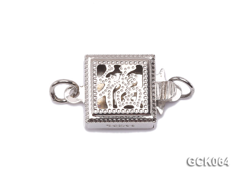 8.5mm Single-strand Square White Gilded Clasp  big Image 1