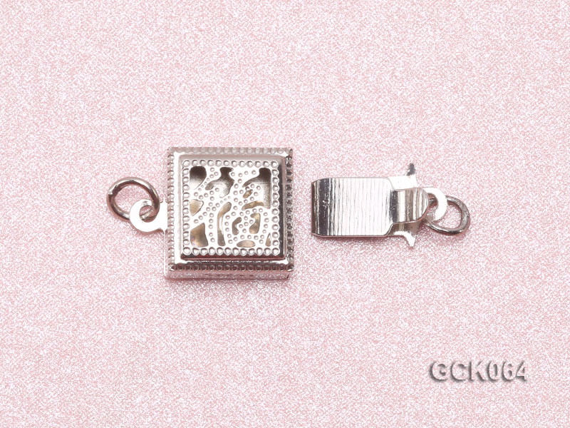 8.5mm Single-strand Square White Gilded Clasp  big Image 3