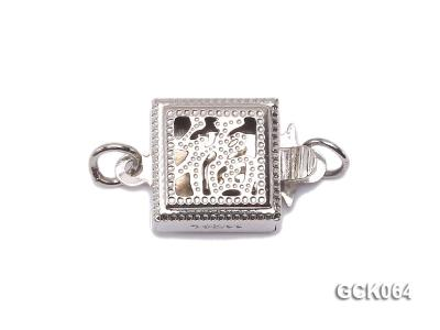 8.5mm Single-strand Square White Gilded Clasp  GCK064 Image 1