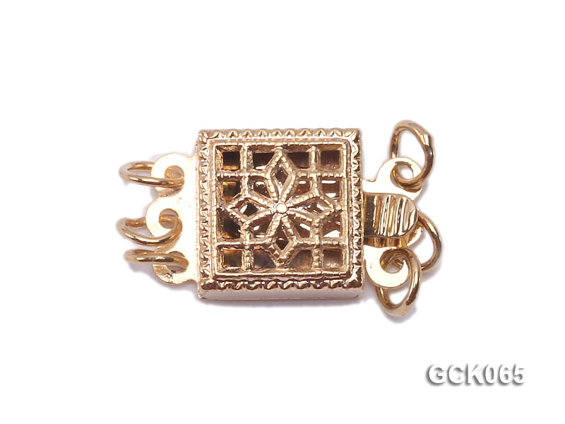 8.5mm Three-strand Square Golden Gilded Clasp  big Image 1
