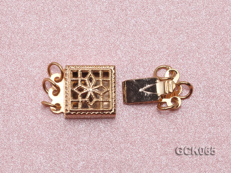 8.5mm Three-strand Square Golden Gilded Clasp  big Image 3