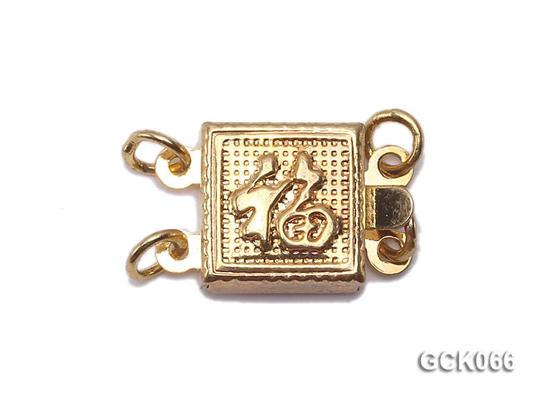 8.5mm Double-strand Square Golden Gilded Clasp  big Image 1