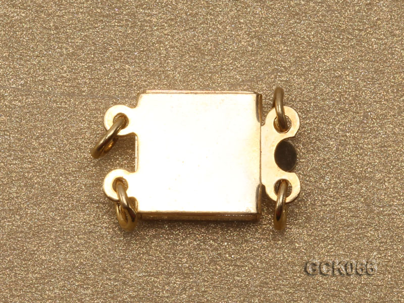 8.5mm Double-strand Square Golden Gilded Clasp  big Image 2