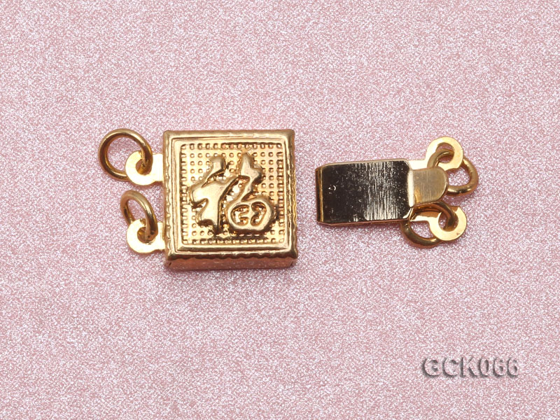 8.5mm Double-strand Square Golden Gilded Clasp  big Image 3