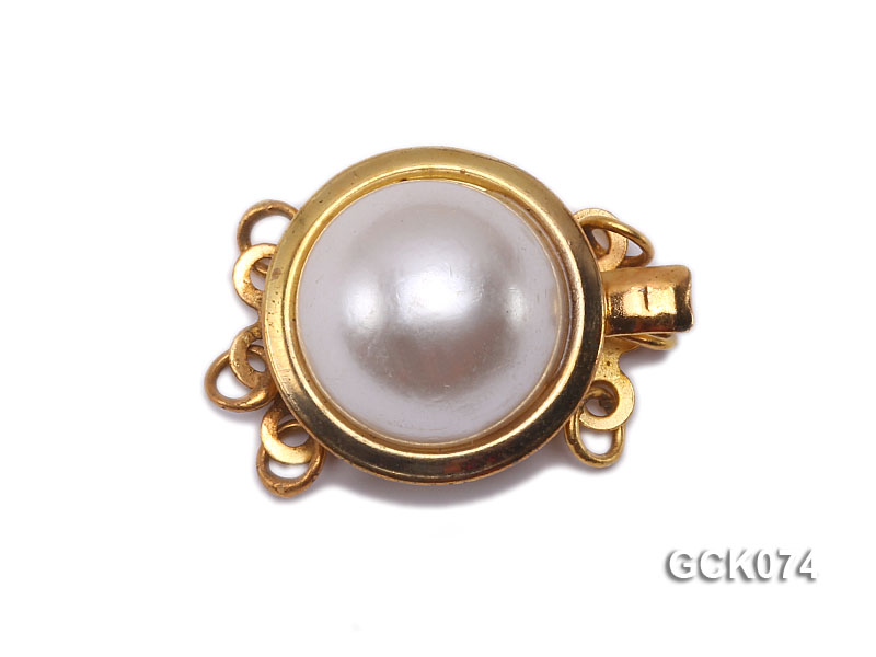 15mm Three-strand Golden Gilded Clasp Inlaid with Imitation Pearl  big Image 1