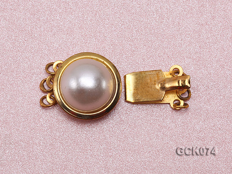 15mm Three-strand Golden Gilded Clasp Inlaid with Imitation Pearl  big Image 2
