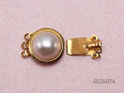15mm Three-strand Golden Gilded Clasp Inlaid with Imitation Pearl  GCK074 Image 2