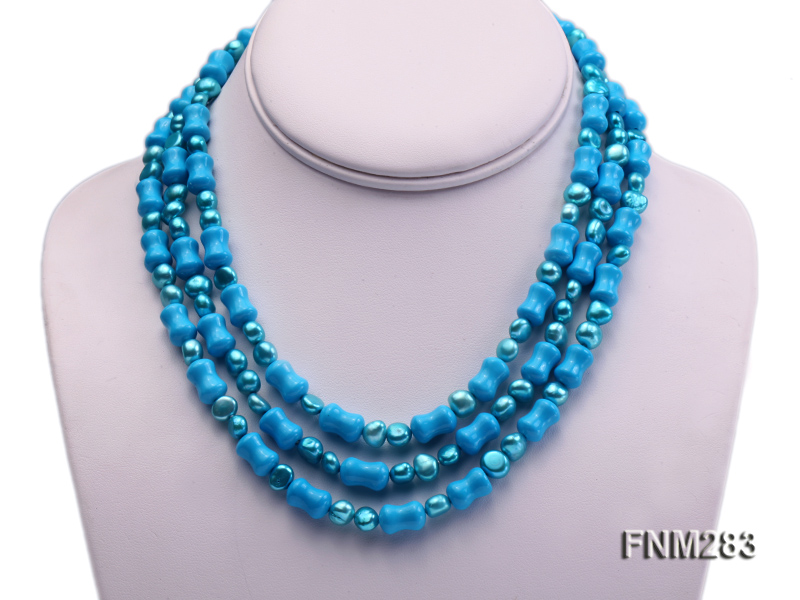 3 strand bule freshwater pearl and turquoise necklace with sterling sliver clasp big Image 1