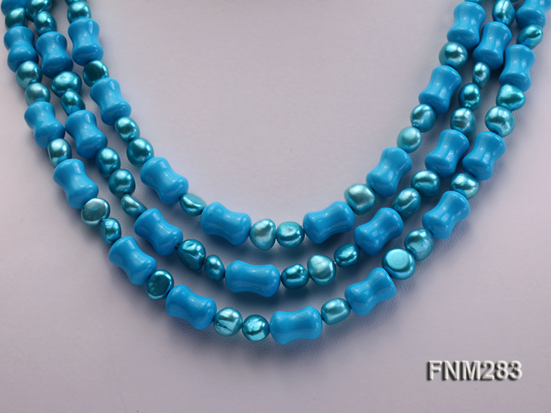 3 strand bule freshwater pearl and turquoise necklace with sterling sliver clasp big Image 2