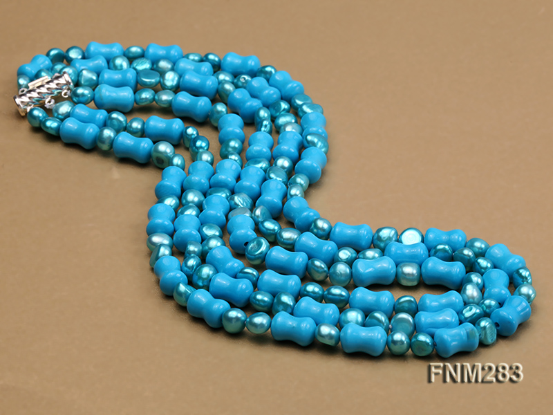 3 strand bule freshwater pearl and turquoise necklace with sterling sliver clasp big Image 3