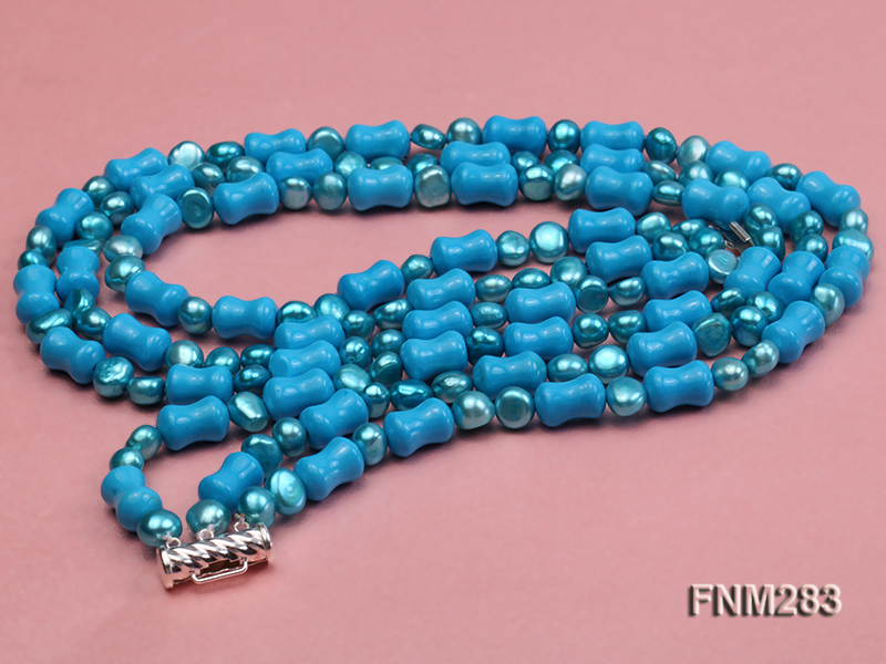 3 strand bule freshwater pearl and turquoise necklace with sterling sliver clasp big Image 4