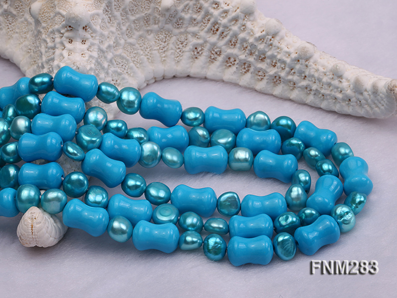 3 strand bule freshwater pearl and turquoise necklace with sterling sliver clasp big Image 5