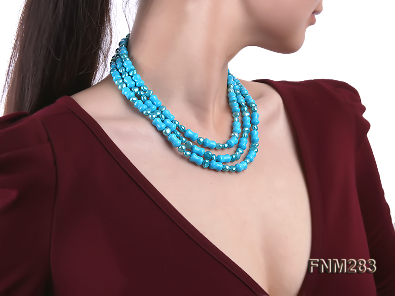 3 strand bule freshwater pearl and turquoise necklace with sterling sliver clasp big Image 7