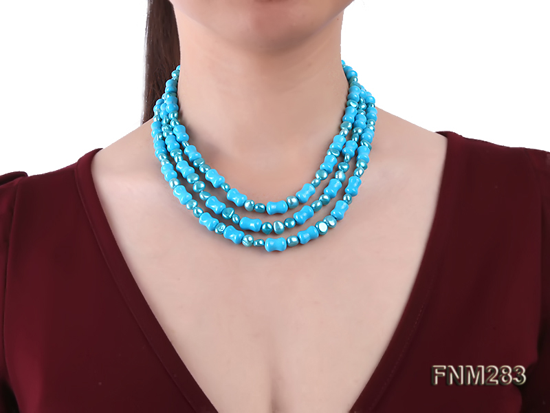 3 strand bule freshwater pearl and turquoise necklace with sterling sliver clasp big Image 8