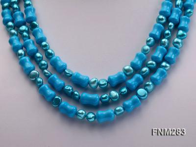 3 strand bule freshwater pearl and turquoise necklace with sterling sliver clasp FNM283 Image 2