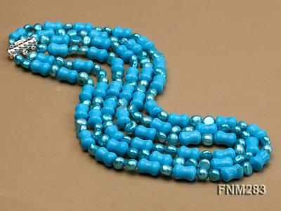 3 strand bule freshwater pearl and turquoise necklace with sterling sliver clasp FNM283 Image 3