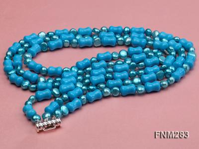 3 strand bule freshwater pearl and turquoise necklace with sterling sliver clasp FNM283 Image 4