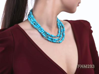3 strand bule freshwater pearl and turquoise necklace with sterling sliver clasp FNM283 Image 7