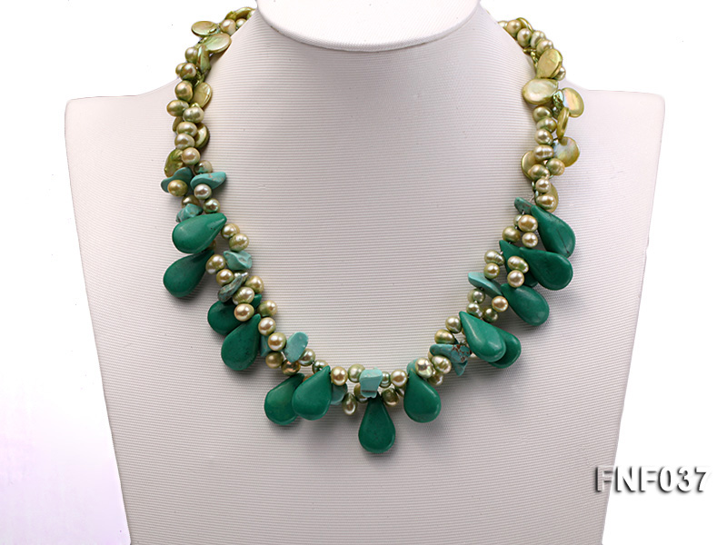 Three-strand 12-13mm Button Pearl and Green Freshwater Pearl Necklace with Green Turquoise Beads big Image 2