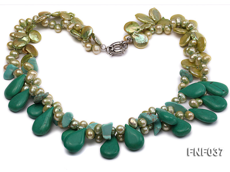 Three-strand 12-13mm Button Pearl and Green Freshwater Pearl Necklace with Green Turquoise Beads big Image 1
