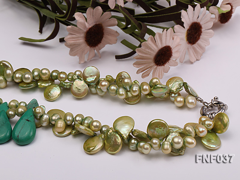 Three-strand 12-13mm Button Pearl and Green Freshwater Pearl Necklace with Green Turquoise Beads big Image 3