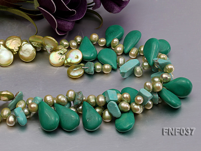 Three-strand 12-13mm Button Pearl and Green Freshwater Pearl Necklace with Green Turquoise Beads big Image 4
