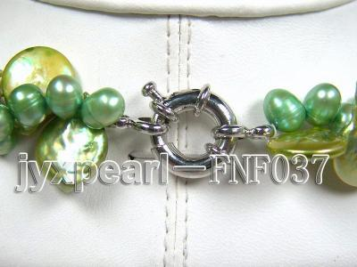 Three-strand 12-13mm Button Pearl and Green Freshwater Pearl Necklace with Green Turquoise Beads FNF037 Image 5
