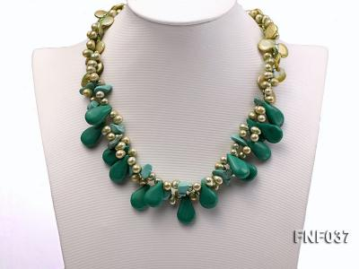 Three-strand 12-13mm Button Pearl and Green Freshwater Pearl Necklace with Green Turquoise Beads FNF037 Image 2