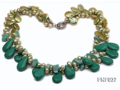 Three-strand 12-13mm Button Pearl and Green Freshwater Pearl Necklace with Green Turquoise Beads FNF037 Image 1