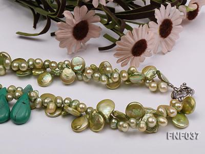 Three-strand 12-13mm Button Pearl and Green Freshwater Pearl Necklace with Green Turquoise Beads FNF037 Image 3