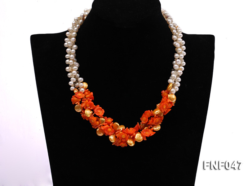 Three-strand 6-7mm White Freshwater Pearl, Golden Button Pearl, and Orange Coral Flowers Necklace big Image 1
