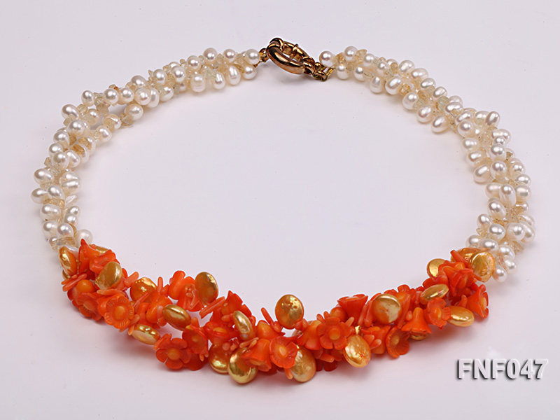 Three-strand 6-7mm White Freshwater Pearl, Golden Button Pearl, and Orange Coral Flowers Necklace big Image 2