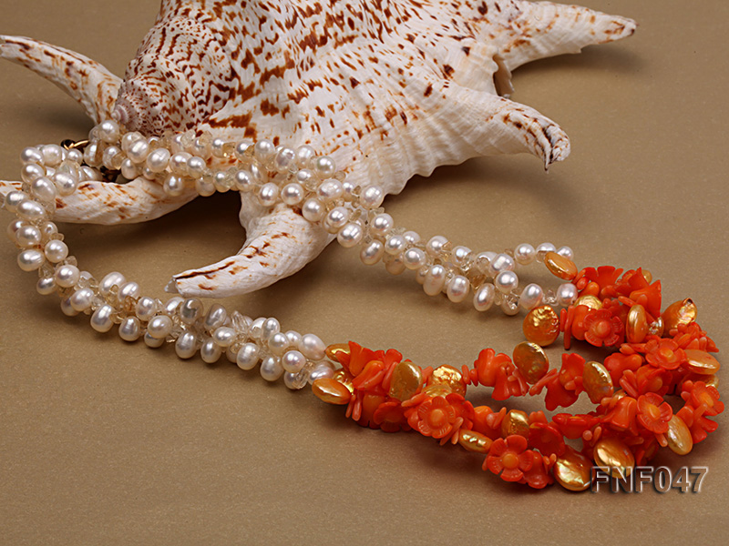 Three-strand 6-7mm White Freshwater Pearl, Golden Button Pearl, and Orange Coral Flowers Necklace big Image 3