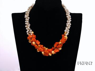 Three-strand 6-7mm White Freshwater Pearl, Golden Button Pearl, and Orange Coral Flowers Necklace FNF047 Image 1