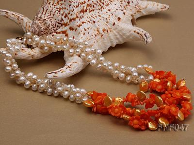 Three-strand 6-7mm White Freshwater Pearl, Golden Button Pearl, and Orange Coral Flowers Necklace FNF047 Image 3
